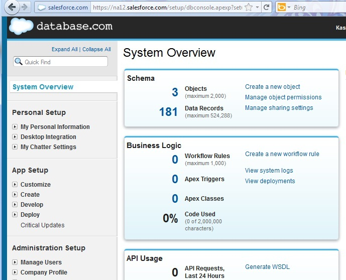Cloud database dashboard